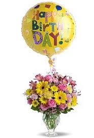flowers and balloons birthday balloons and fresh flowers in yellow and pink png