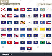 All The State Flags Postage Stamp Usa State Flags Set Stock Vector 664723090