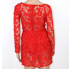 v neck red lace summer dress plus size long sleeve club