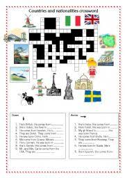 esl worksheets for beginners countries and nationalities crossword