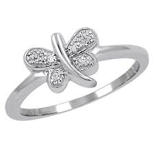 butterfly engagement ring s sterling silver accent cut white pave set