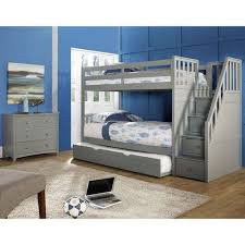 Barrett Twin Over Twin Wood Bunk Bed With Trundle Grey Finish - Wooden bunk bed with trundle