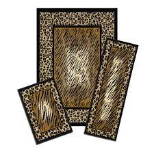 capri leopard skin 5 ft x 7 ft 3 piece rug set black browns