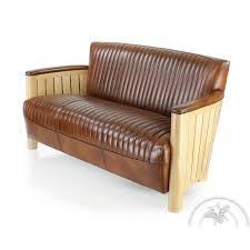 canape cuir et bois canapé cuir marron vintage bois naturel cognac saulaie