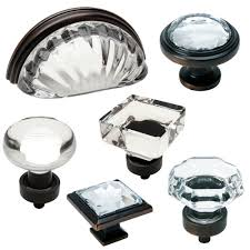 cosmas clear oil rubbed bronze glass cabinet knobs cup pulls