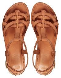 ugg sale asos asos flightplan leather flat sandals in brown lyst