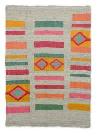 Zapotec Rug Paintings Fair Trade Geometric Wool Area Rug Geometric Colors Novica