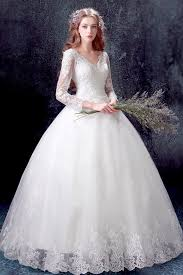 robe de mari e dentelle manche longue classique robe de mariée princesse 2017 avec manches longues en
