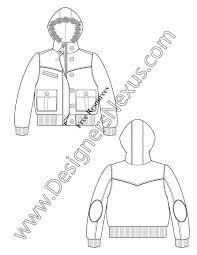 v17 fur hooded bubble jacket fashion technical drawing fur