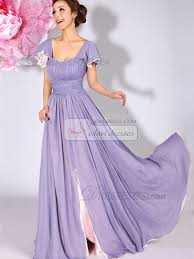chagne bridesmaid dresses a line bateau draped falbala sleeves floor length lavender