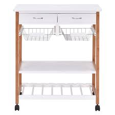 kitchen trolley island costway rolling wood kitchen trolley cart island storage basket