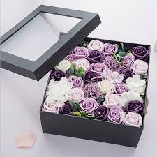 flowers in a box artificial flowers purple one box s present scented