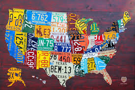 Large Map Of United States by Large License Plate Map Of The United States 48 X