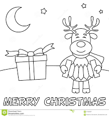 coloring christmas card reindeer stock vector image 61958587