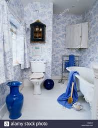 Toile Bathroom Wallpaper by Tall Blue Vase In Country Bathroom With Blue White Toile De Jouy