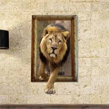 3d lion wall decals animal pag sticker removable picture stickers