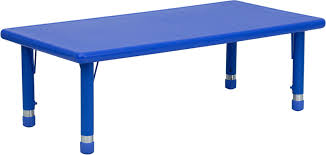 cobalt blue table l w x 48 l rectangular blue plastic height adjustable activity table