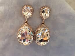 Rose Gold Chandelier Earrings Rose Gold Swarovski Crystal Embellished Teardrop Earrings The