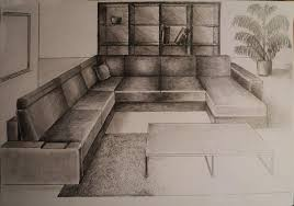 how to draw one point perspective living room furniture youtube