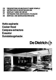 hotte de cuisine de dietrich notice hotte de dietrich dht 1156 x et pièces détachées moteur