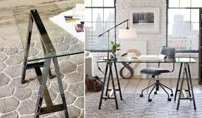 tables better living through design glass top sawhorse desk home decor sawhorse worktable desk work