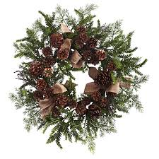 24 u201d pine u0026 pine cone wreath w burlap bows holiday crafts 2016