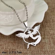stainless steel necklace pendant images Pokemon go mystic logo double sided reflective stainless steel jpg