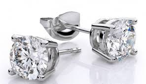 gold diamond stud earrings 1 carat white gold diamond color g h diamond clarity i1 i2 14k