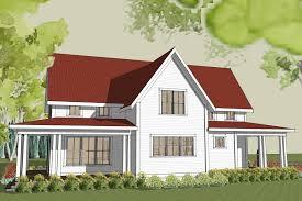 rear simple farmhouse plan wrap around porch building plans