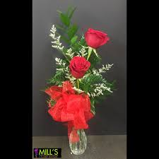 Red Flowers In A Vase Mill U0027s Flowers And Gifts Mt Pleasant Tx 75455