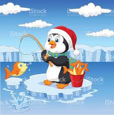 cartoon penguin fishing on the ice stock vector art 492762920 istock