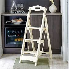wooden folding step ladder solid wood home kitchen portable stool