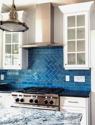 awesome kitchen backsplash tiles latest dark cabinets blue glass