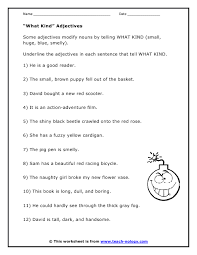 types of adjectives worksheet free worksheets library download
