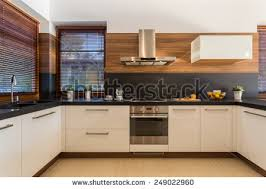 furniture in kitchen horizontal view modern furniture luxury kitchen stock photo