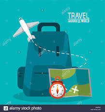 World Time Map Travel Around The World Backpack Time Map Plane Stock Vector Art