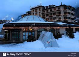 winter snow view over hotels in zermatt town valais canton