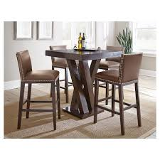 bar height dining table with leaf 5 piece whitney bar height dining table set wood chocolate steve