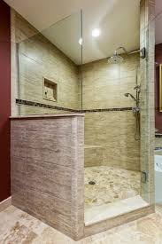 bathroom design ideas walk in shower gray mosaic marble wall tile paneling small shelf in corner