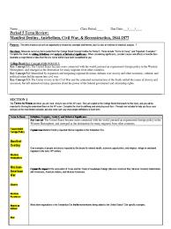 era 5 review sheet hw american civil war reconstruction era