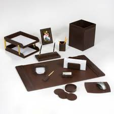 Wood Desk Accessories by Leather Desk Set 14 Piece Chocolate Brown Leather Desk Sets
