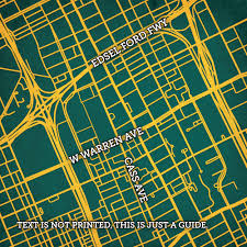 Central Michigan University Campus Map by Wayne State University Campus Map Art City Prints