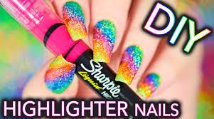 diy sparkly highlighter rainbow nails youtube