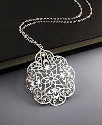 long silver fashion necklace images Filigree silver necklace long chain necklace valentine 39 s day jpg