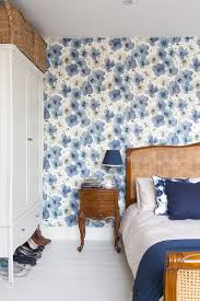 queen anne style bedroom victorian with quirky wallpaper