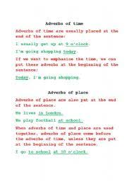english teaching worksheets adverbs of place