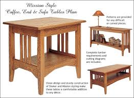 table patterns mission style coffee end and sofa table plans