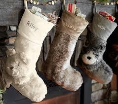 Pottery Barn Kids Stockings Gray Wolf Faux Fur Stocking Pottery Barn Kids