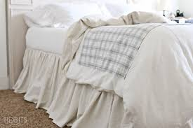 Homemade Duvet Cover Diy Gathered Bed Skirt From A Drop Cloth Tidbits
