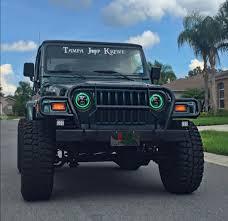 headlights jeep wrangler 7inch led headlights with green halo for jeep wrangler tj yj omotor